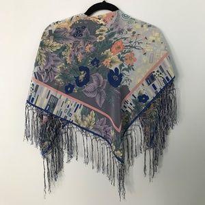 Vintage Pure Silk Reine Seide Floral Scarf Germany